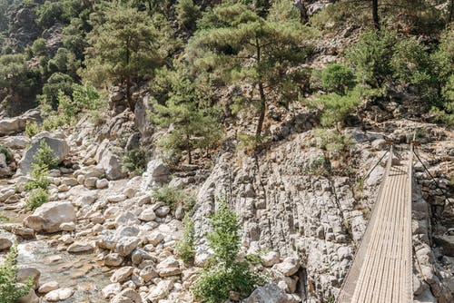 A Hanging Wooden Bridge on a Rocky Mountain