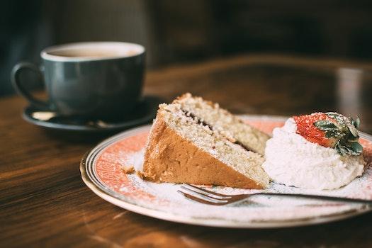 Sliced Cake on Brown Ceramic Plate