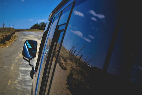 Free stock photo of blue sky, reflections, roadtrip