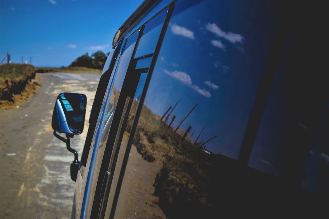 Free stock photo of blue sky, reflections, roadtrip