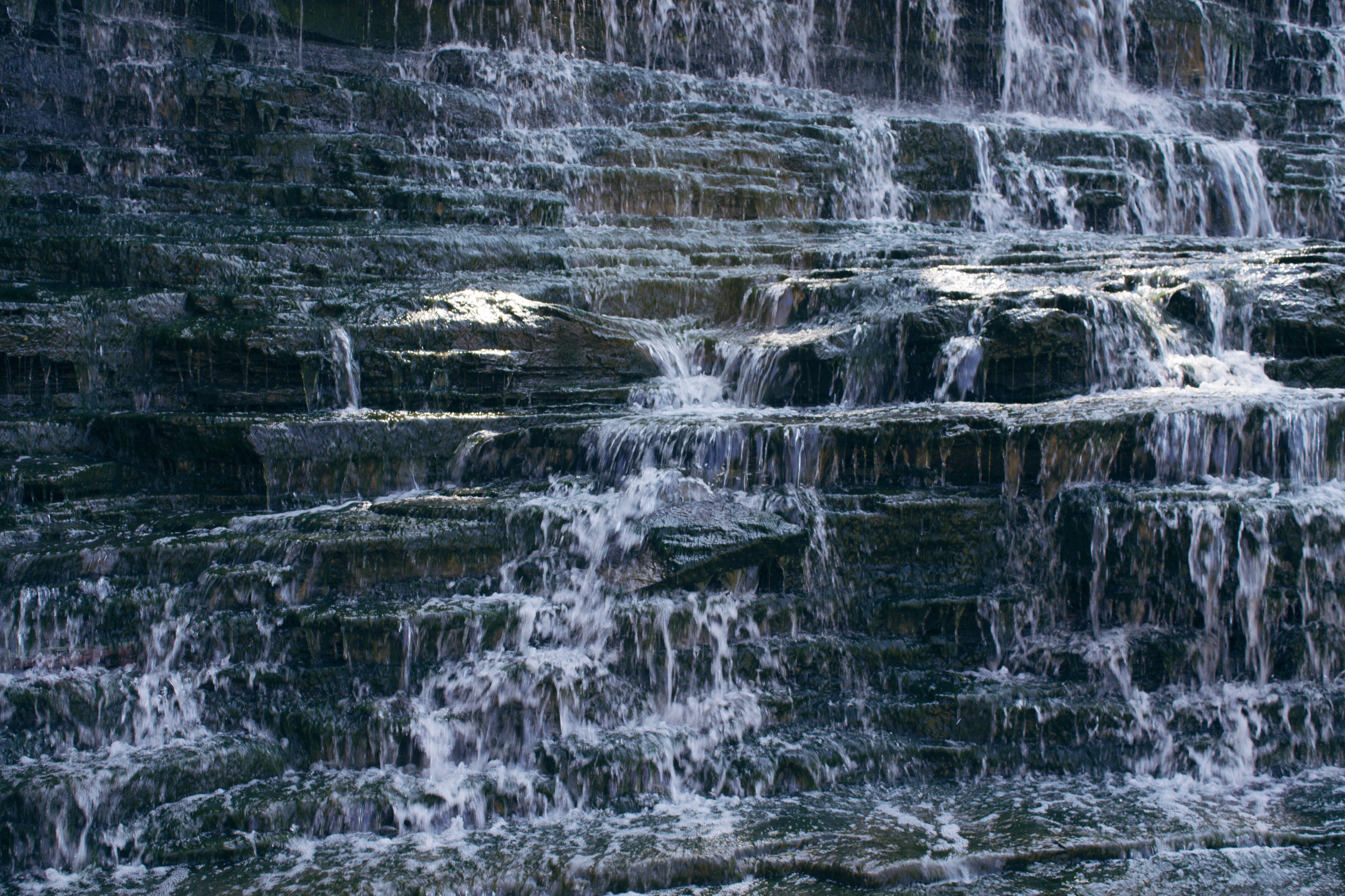 Waterfalls on Gray Rock Formation