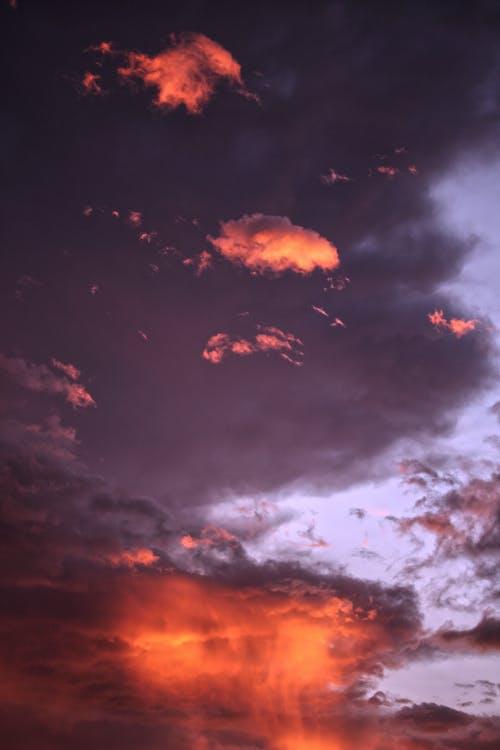 Free stock photo of clouds, glow, orange