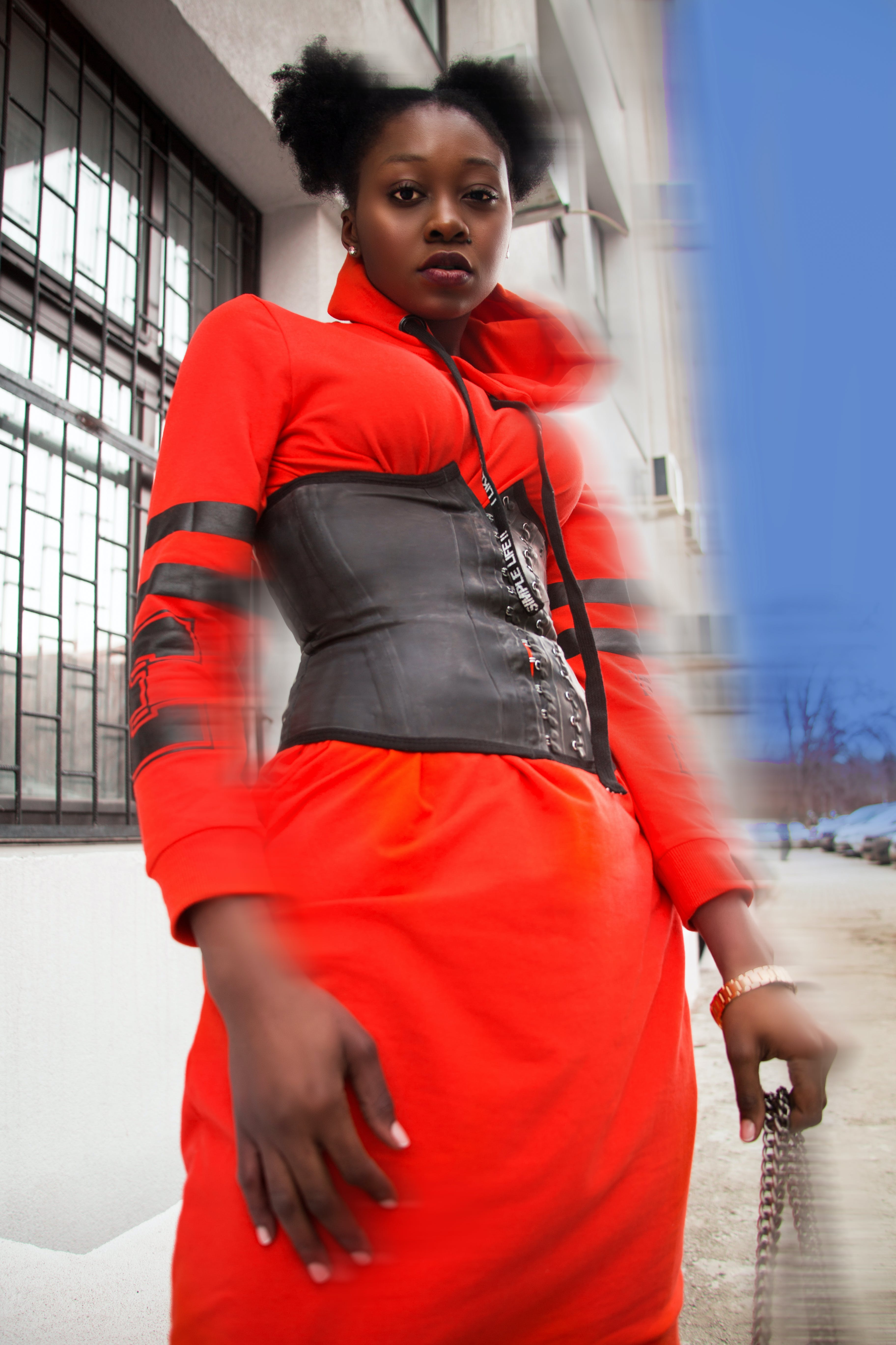 Women's Orange Collared Long-sleeved Dress and Gray Corset