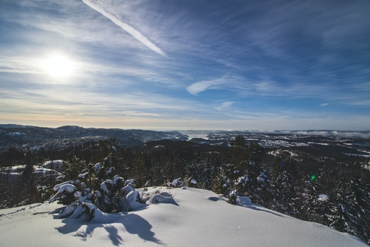 Landscape Photography of Mountain Covered With Snow Surrounded With Trees