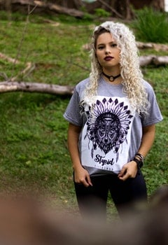 Woman Wearing Gray and Black Tribal Graphic Crew-neck Shirt and Black Pants