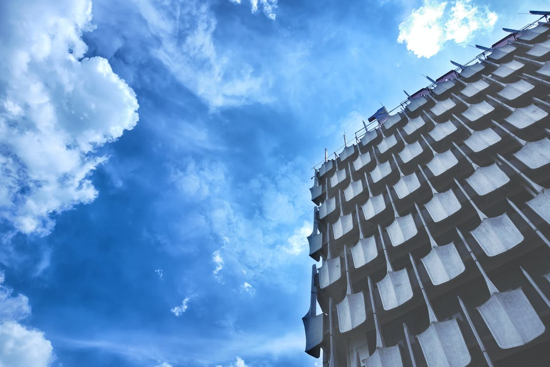 arkitektur, atmosfär, blå himmel