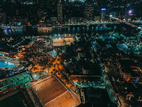 Aerial View of a Metropolitan Area at Night