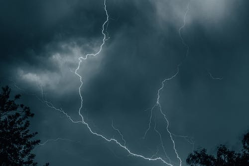 Lightning Strike on a Gloomy Sky