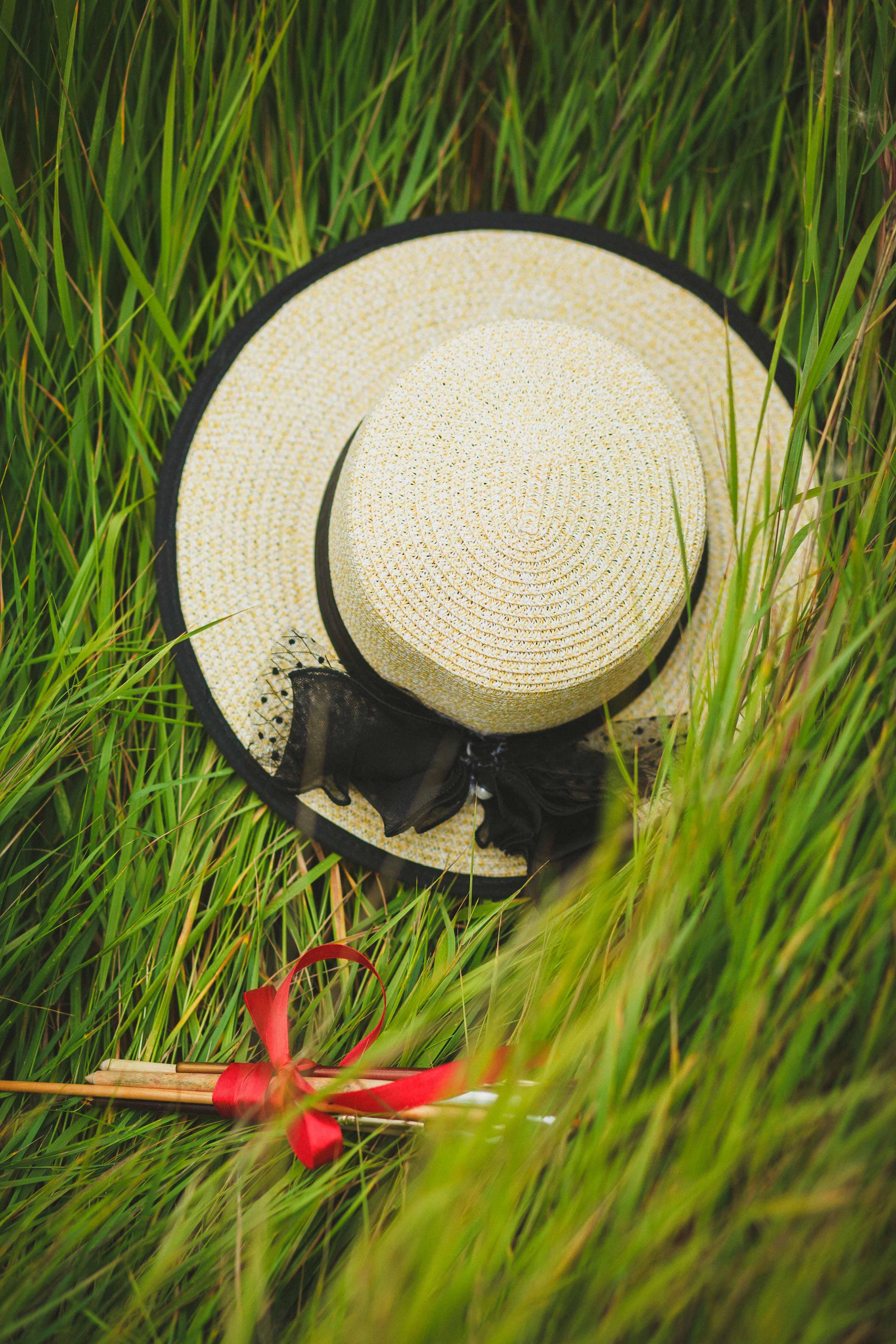 Beige and Black Wicker Hat
