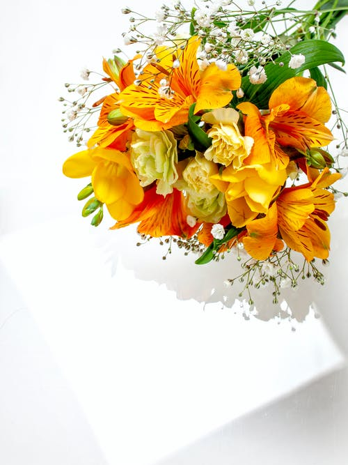 A Close-Up Shot of a Bouquet of Flowers