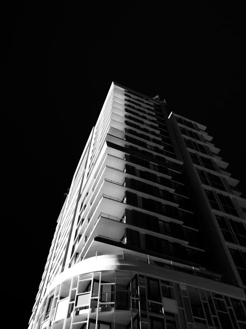 Free stock photo of black and white, building exterior, city photography
