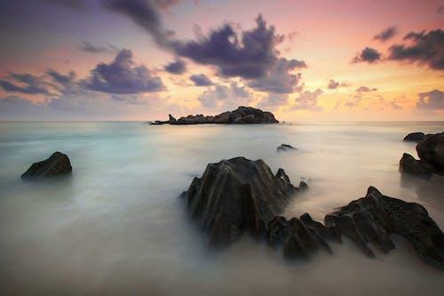 Gratis lagerfoto af hav, lang eksponering, natur, solnedgang