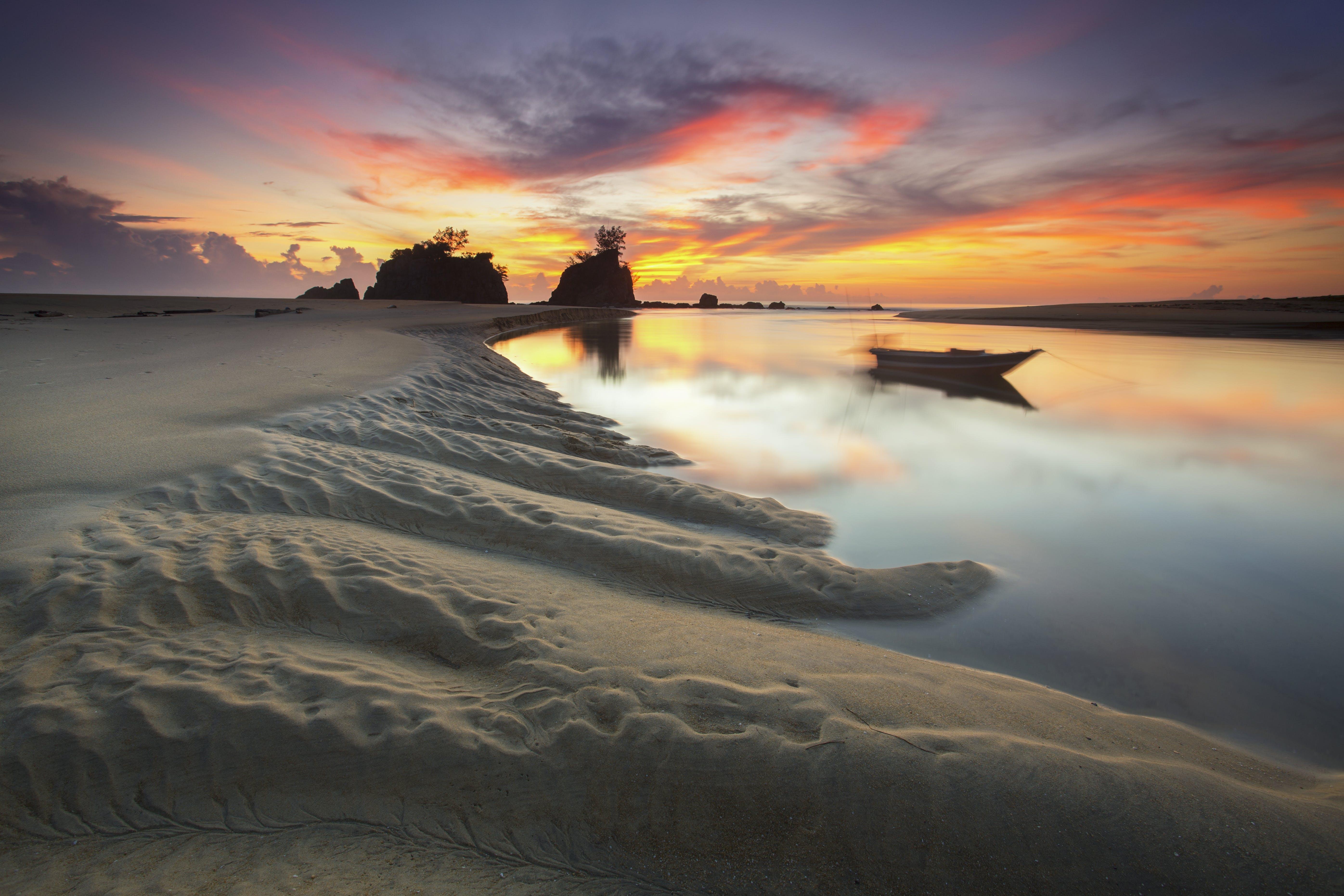 Základová fotografie zdarma na téma člun, krajina, oceán, odraz