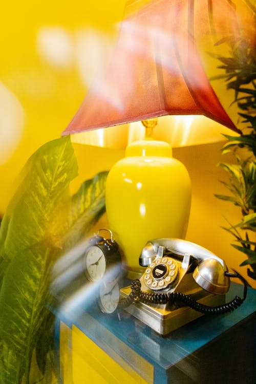 Yellow and Silver Table Lamp