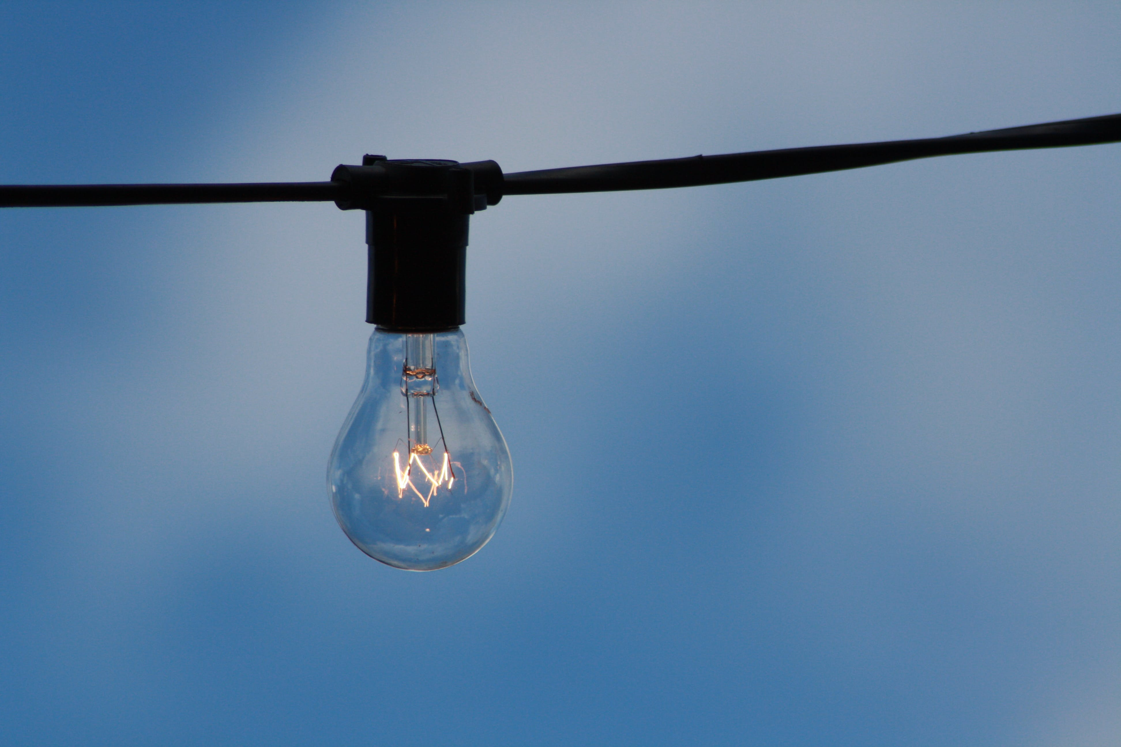 Clear Light Bulb on Wire