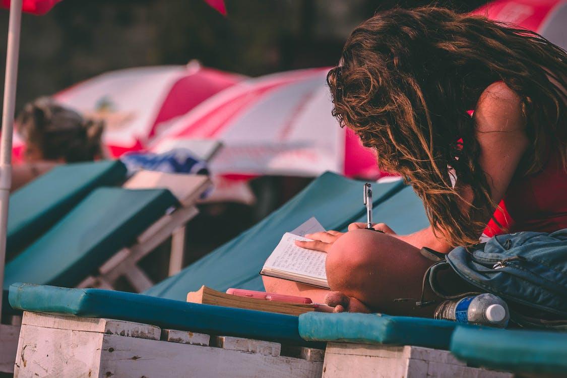 anteckningsbok, dagtid, flicka