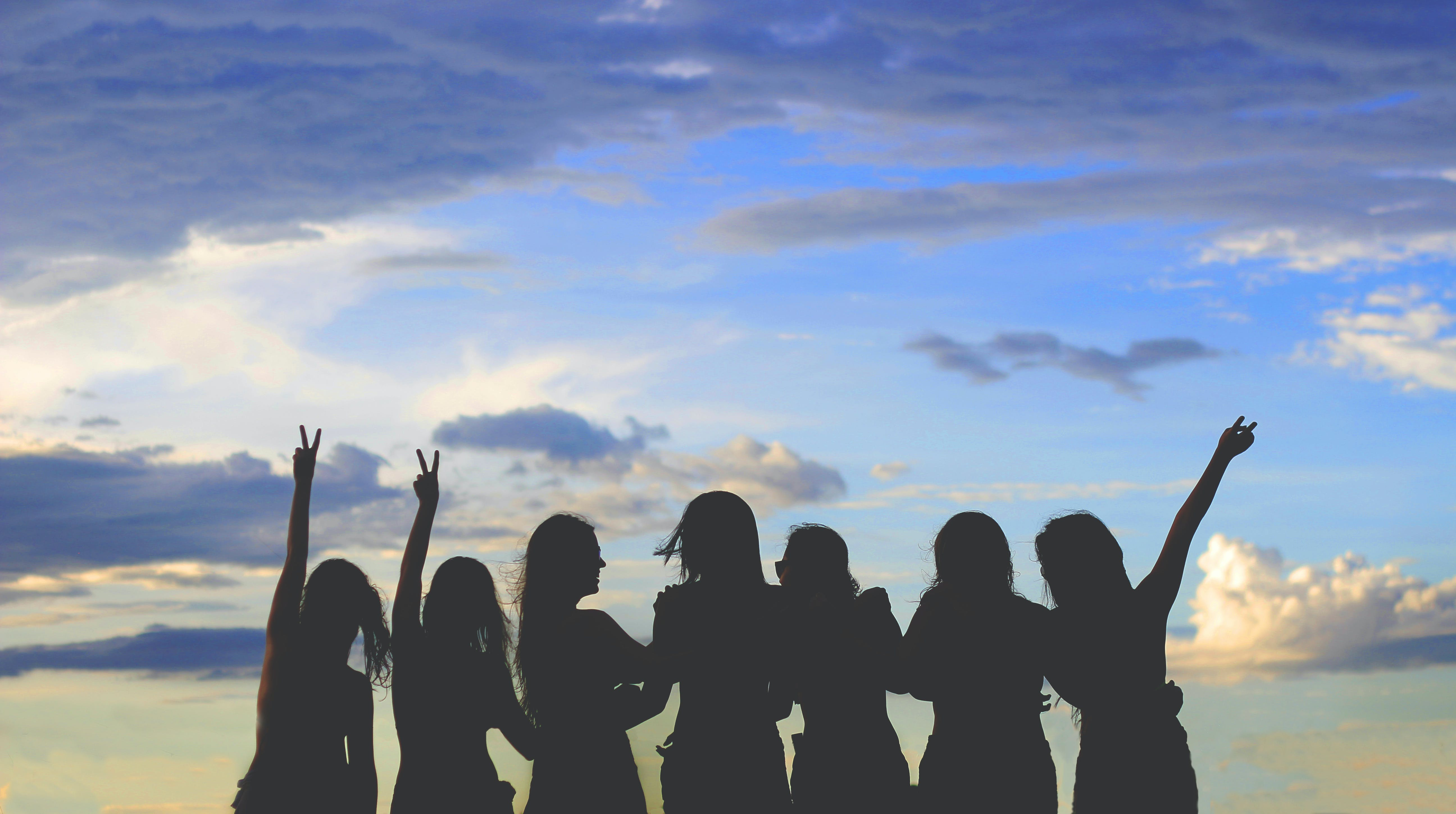 Silhouette Photo Of Women Under Blue Sky