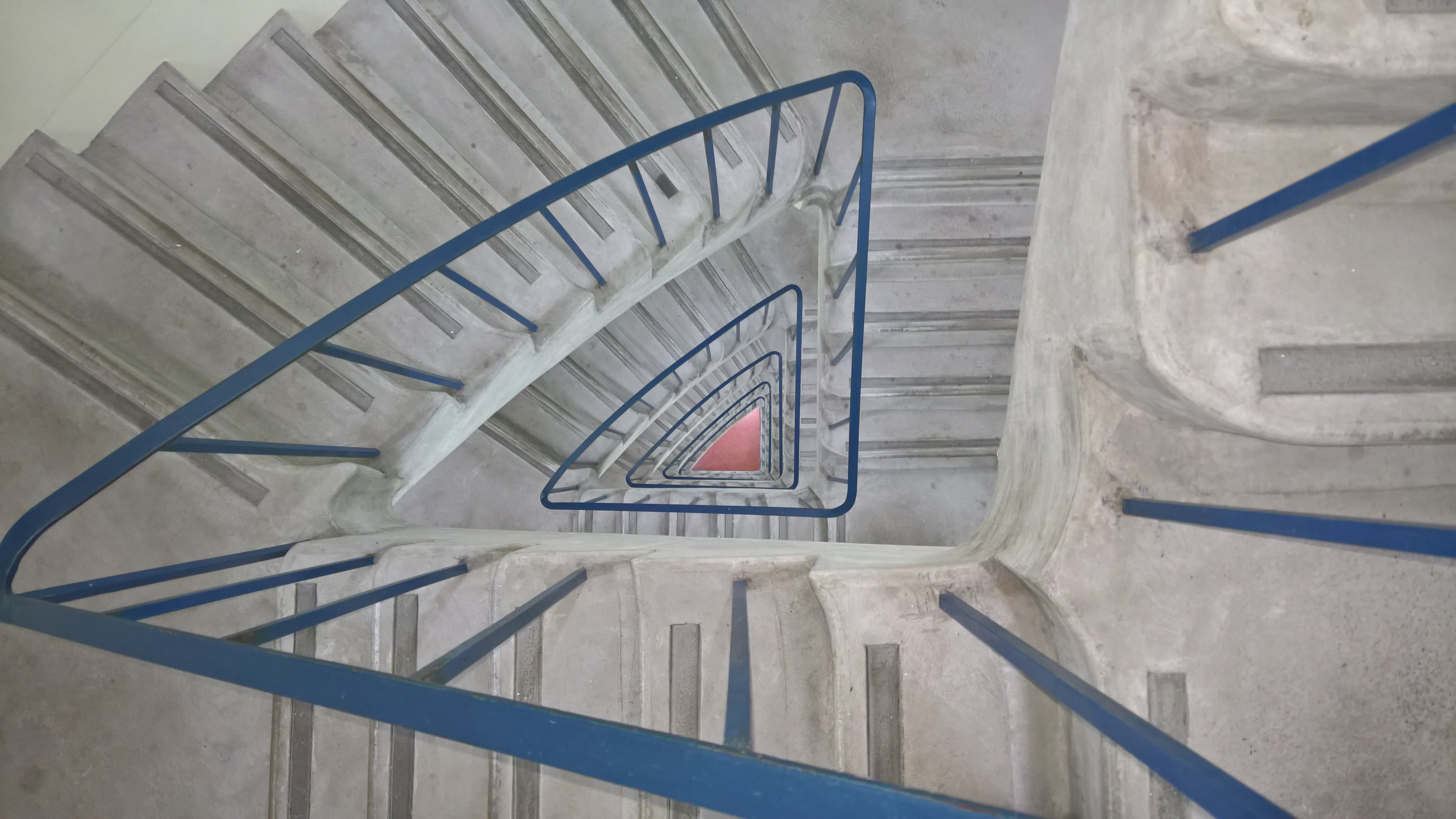 Grey And Blue Spiral Stair Case Painting
