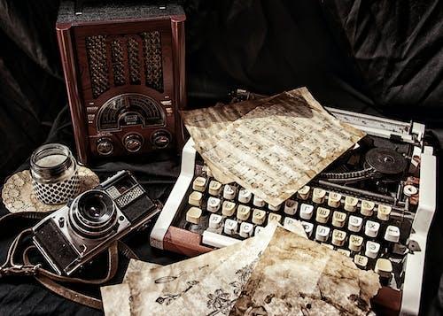 Antique Equipment on Black Fabric