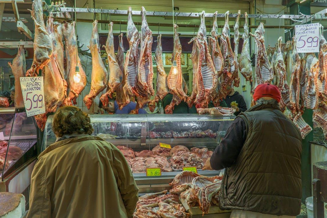 gedekød, kunder, kød marked