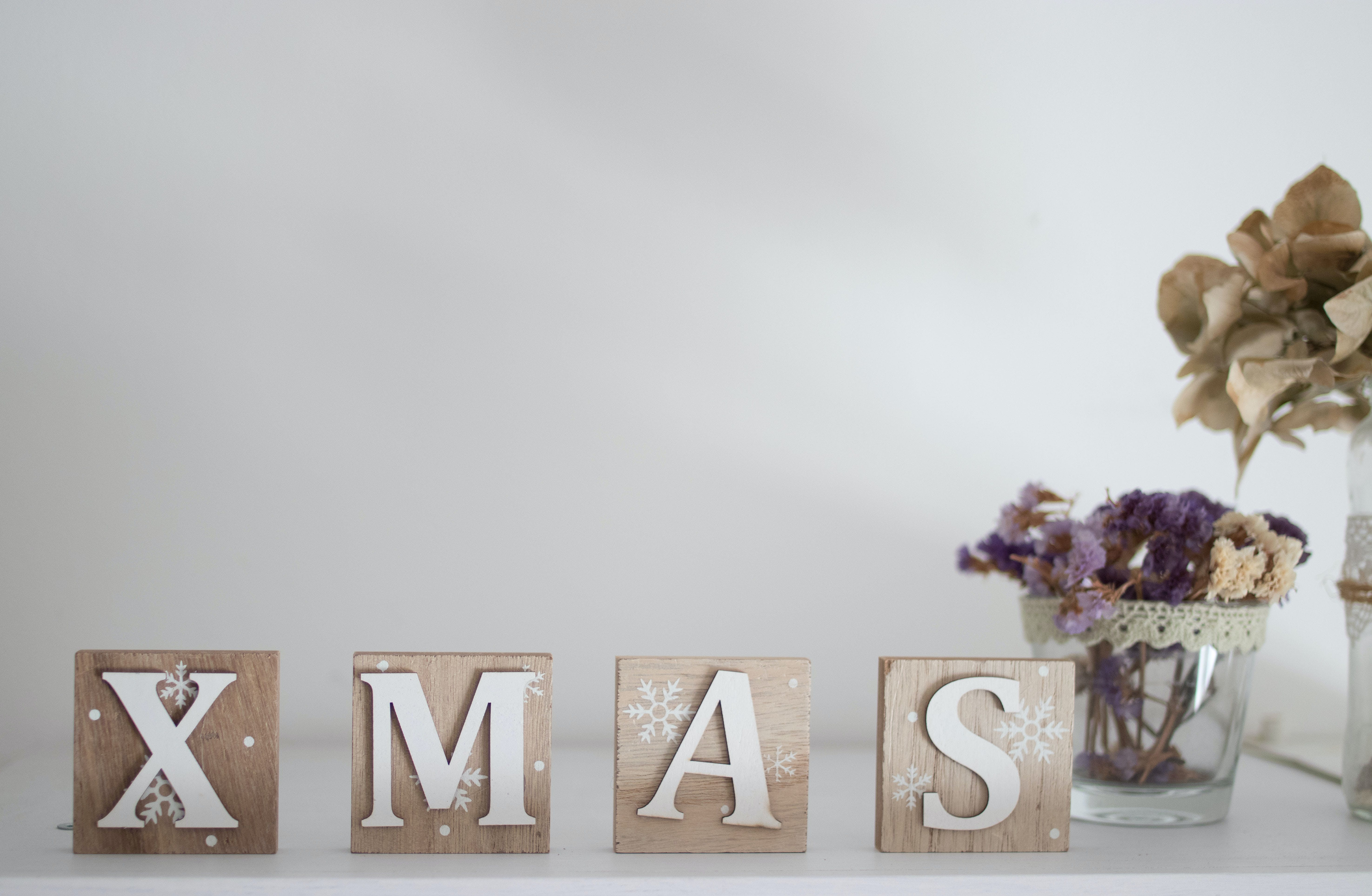 Brown and White Wooden Xmas Letter Table Decor