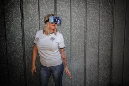 VR, バーチャルリアリティゴーグル, 人, 壁の無料の写真素材