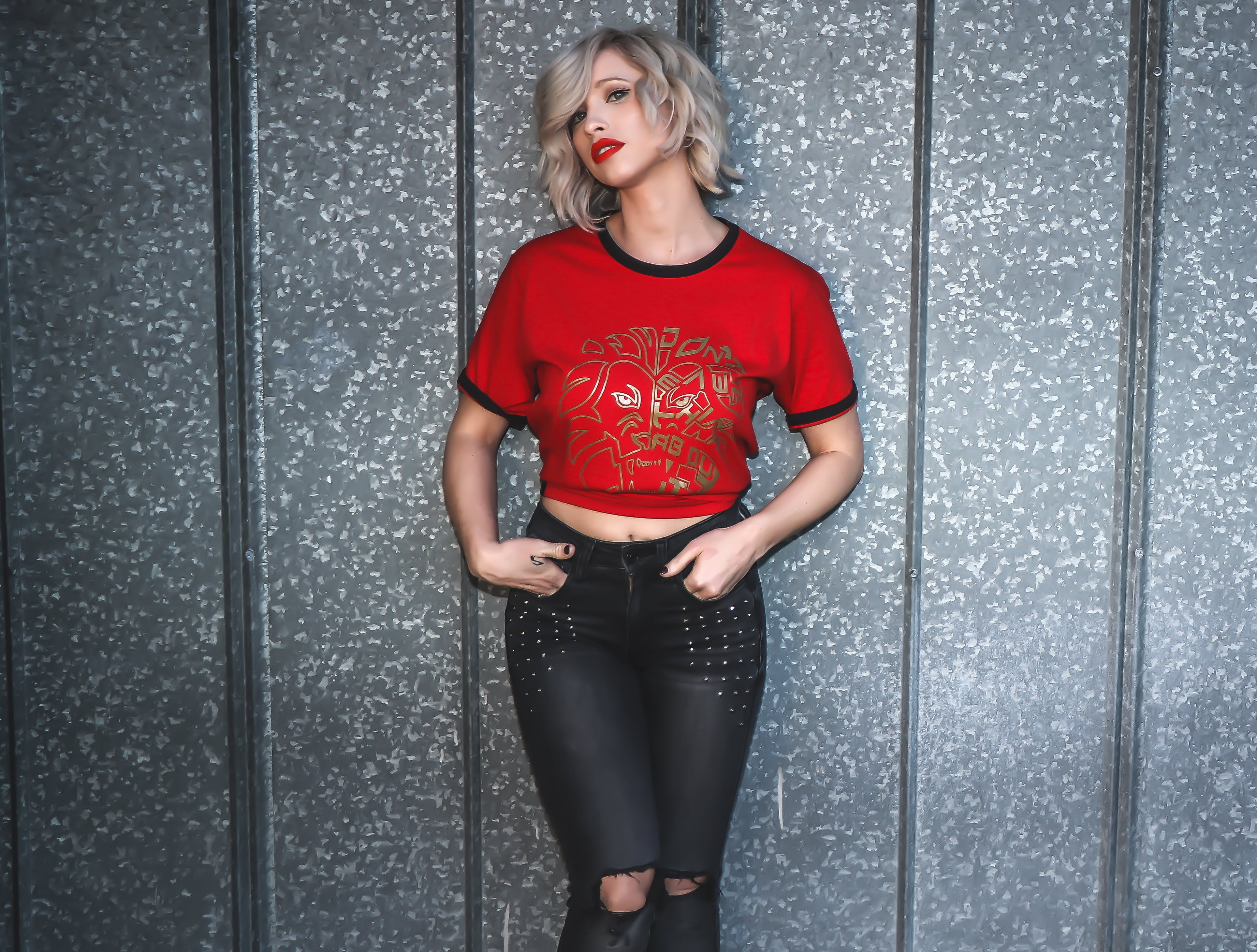 Woman in Red Crew-neck T-shirt