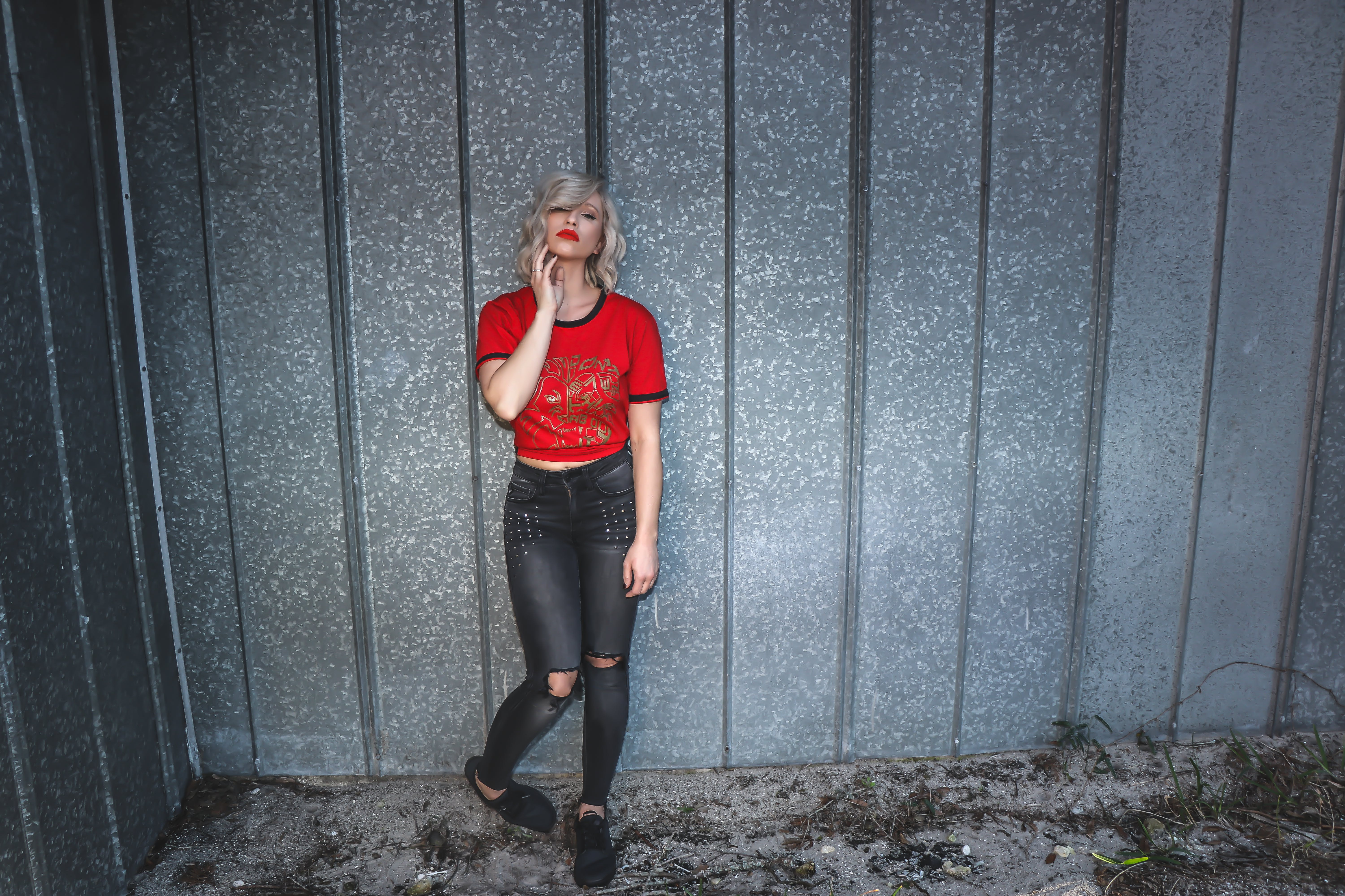 Woman in Red Scoop-neck Shirt