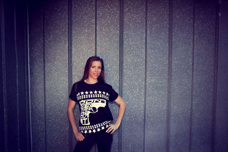 Woman Wearing Black Crew-neck T-shirt