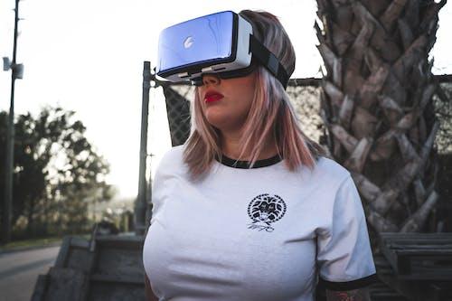 Základová fotografie zdarma na téma brýle na virtuální realitu, dáma, elektronický, focení