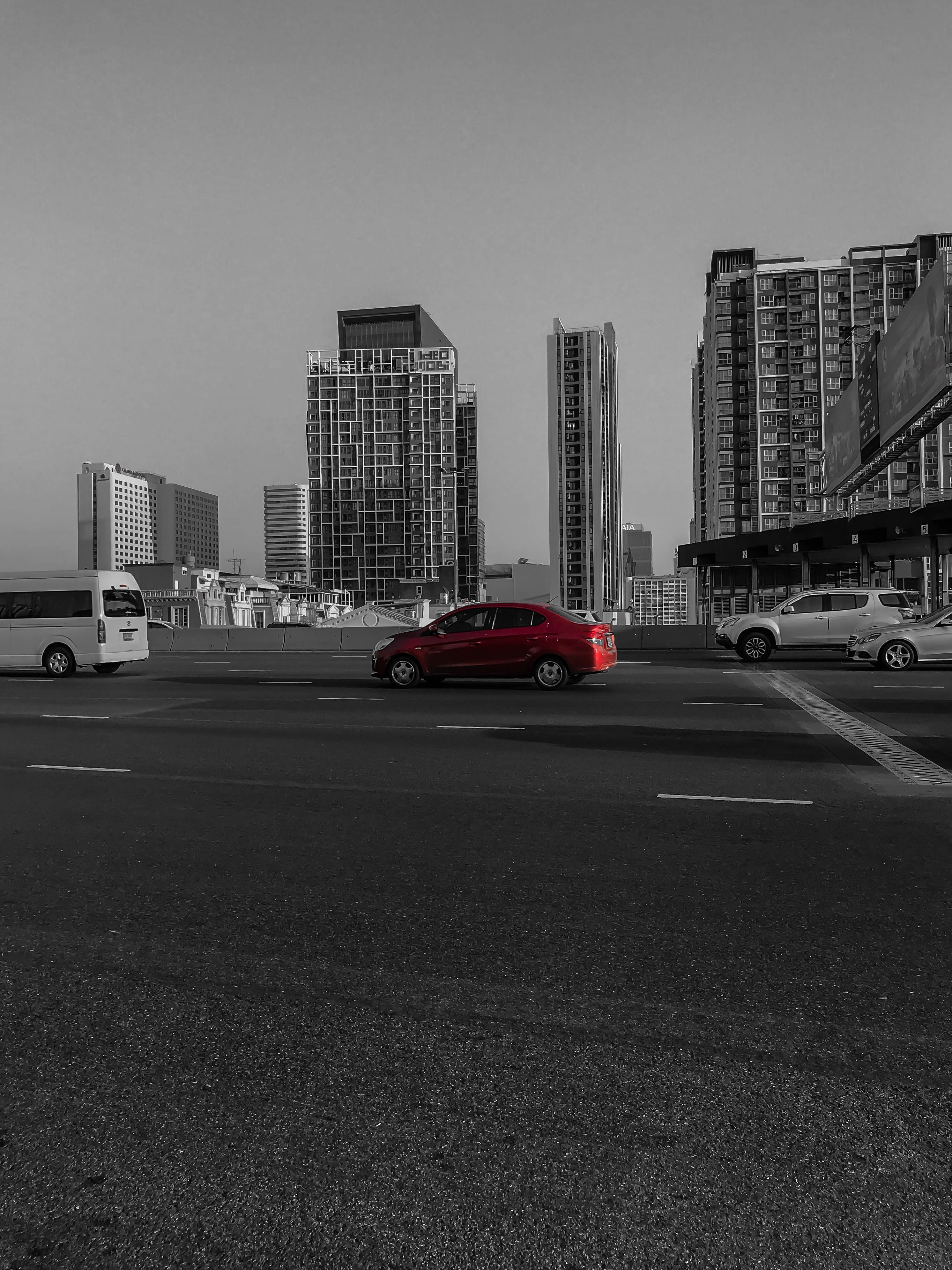 Free stock photo of black and white, car, cars, city