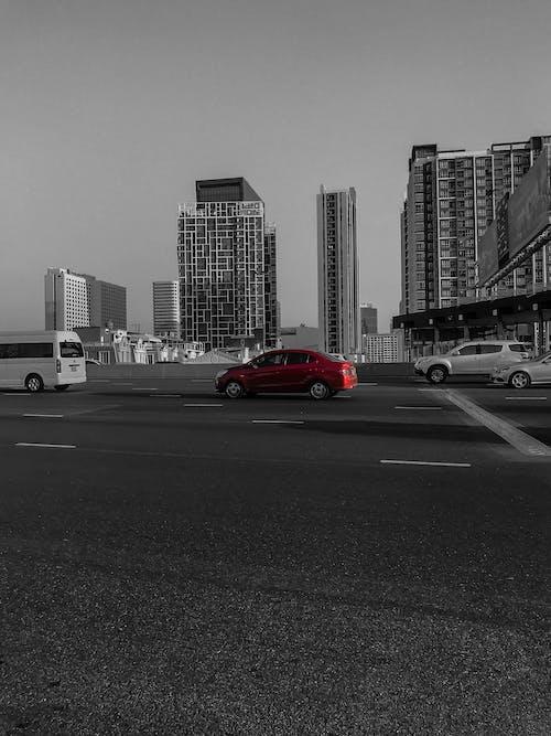 Imagine de stoc gratuită din alb-negru, automobil, autoturisme, drum