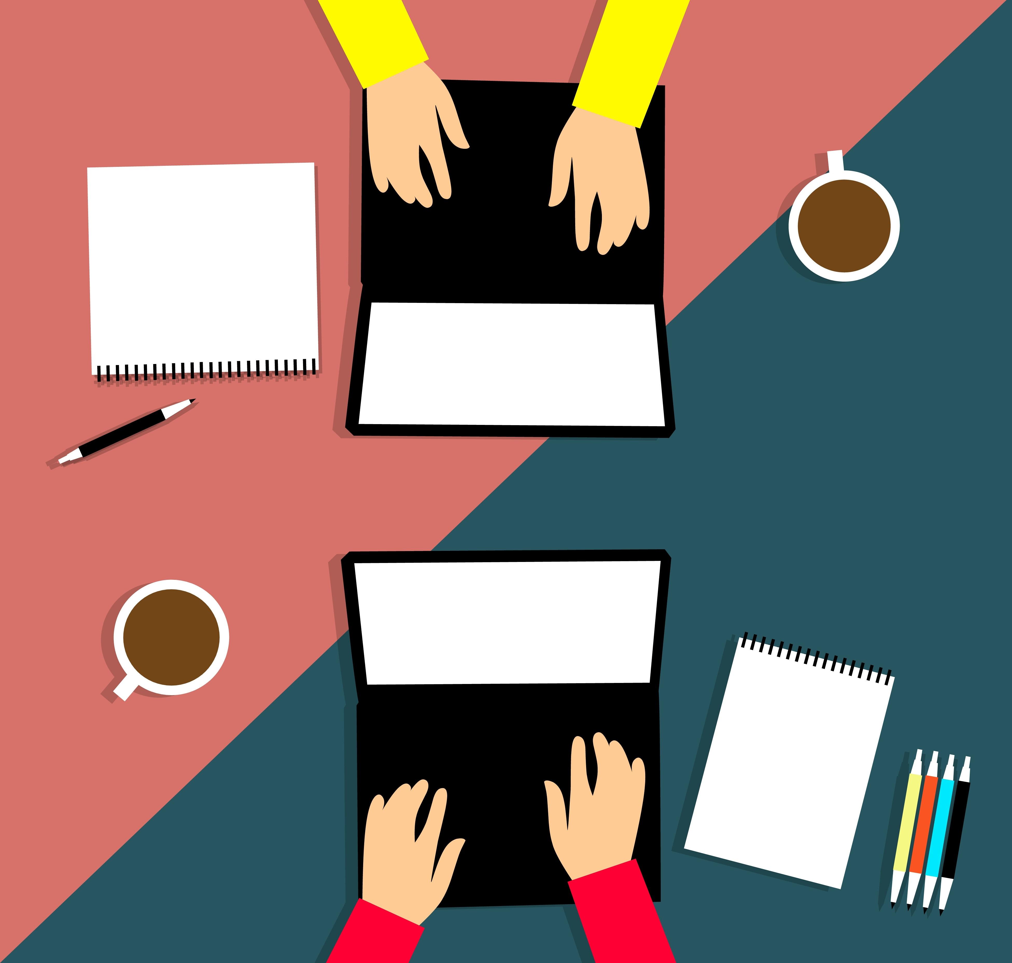 A imagem apresenta duas pessoas produzindo conteúdo relevante para seus respectivos sites, fator fundamental do Marketing de Conteúdo.