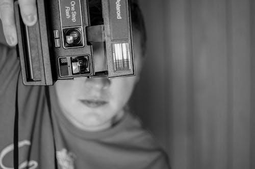 Free stock photo of black and white, polaroid, polaroid camera