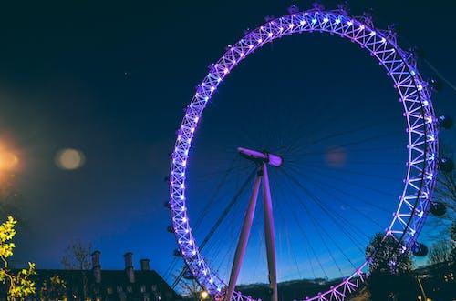 主題公園, 嘉年華, 摩天輪, 燈光 的 免费素材照片