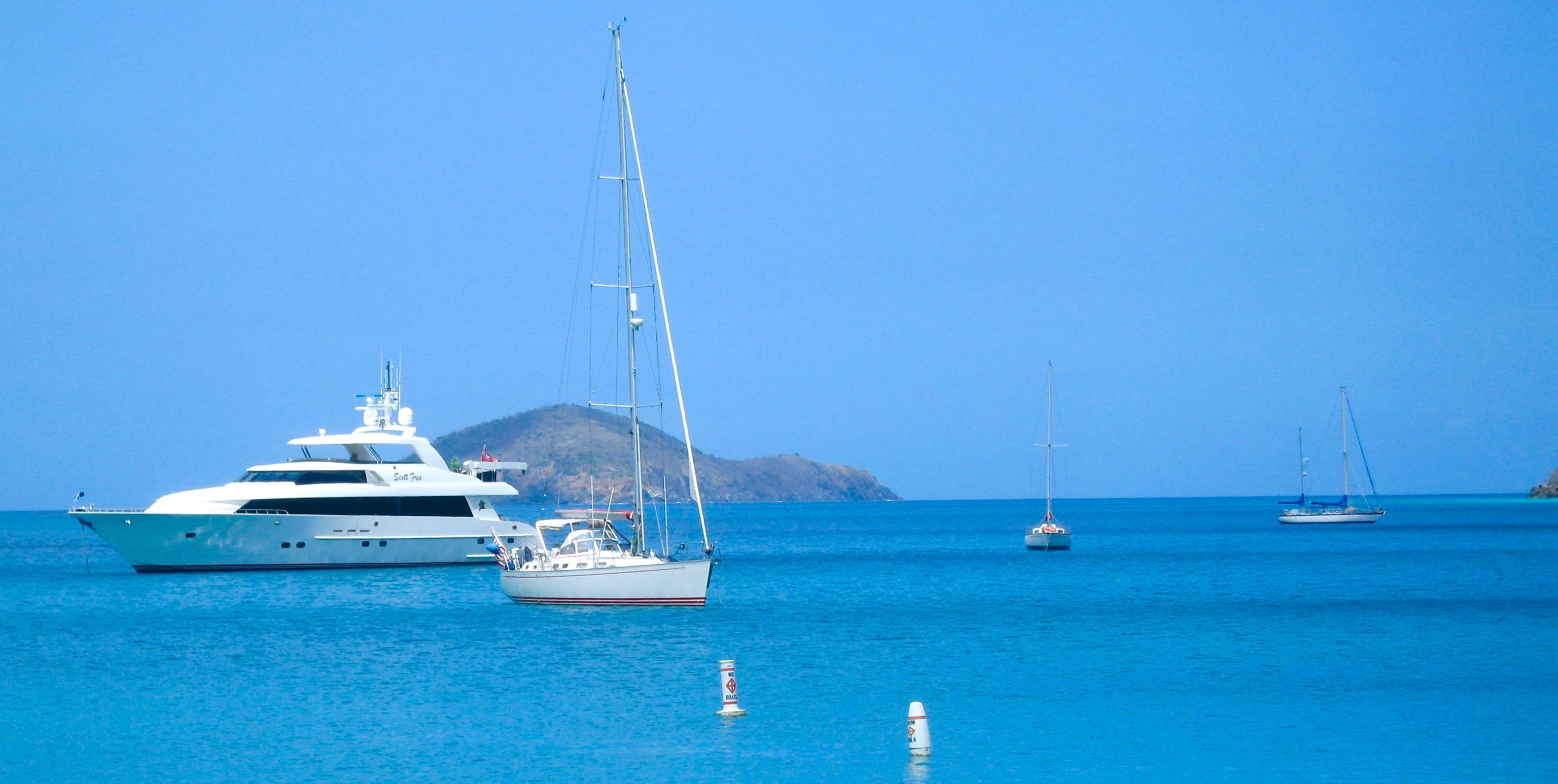 Body of Water and White Yacht