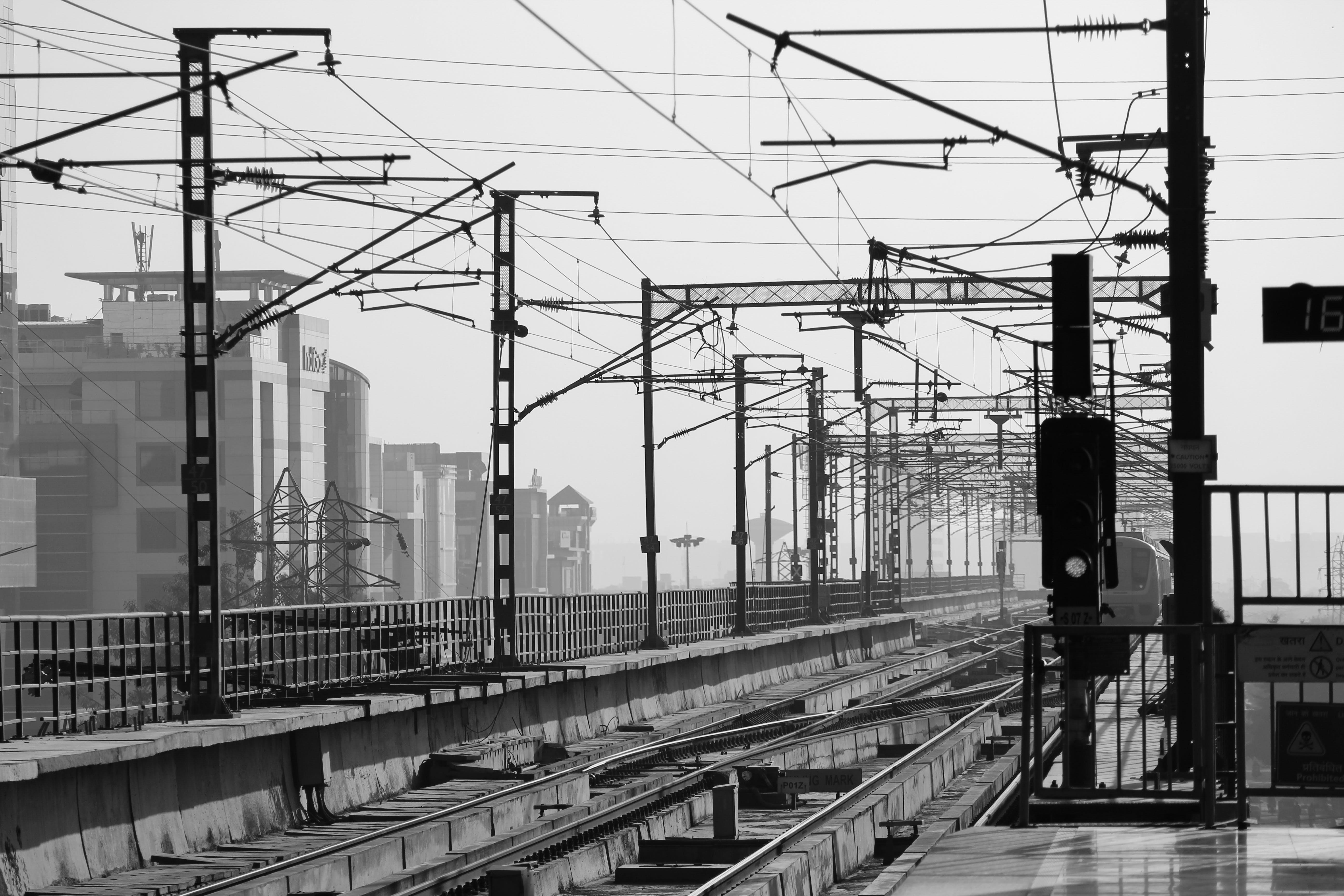 ασπρόμαυρο, ατσάλι, γραμμές τρένου