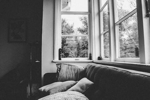 Fotos de stock gratuitas de alféizar, ByN, sofá, ventanas