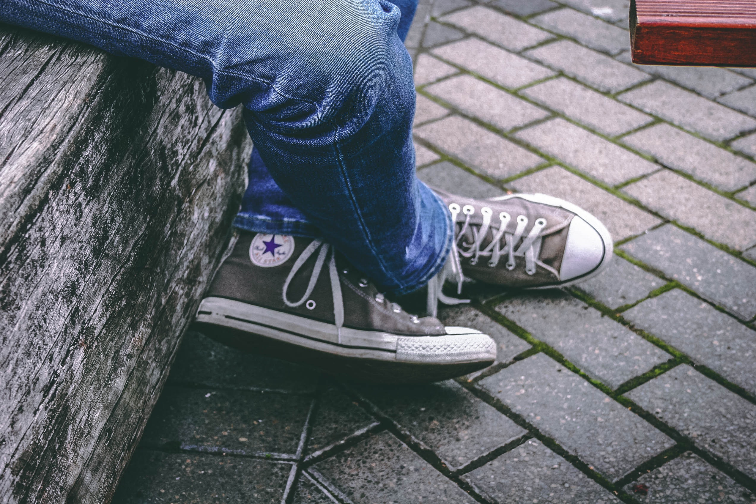 04701308a5c Person Wearing Brown Converse All-star High-top Sneakers and Blue ...