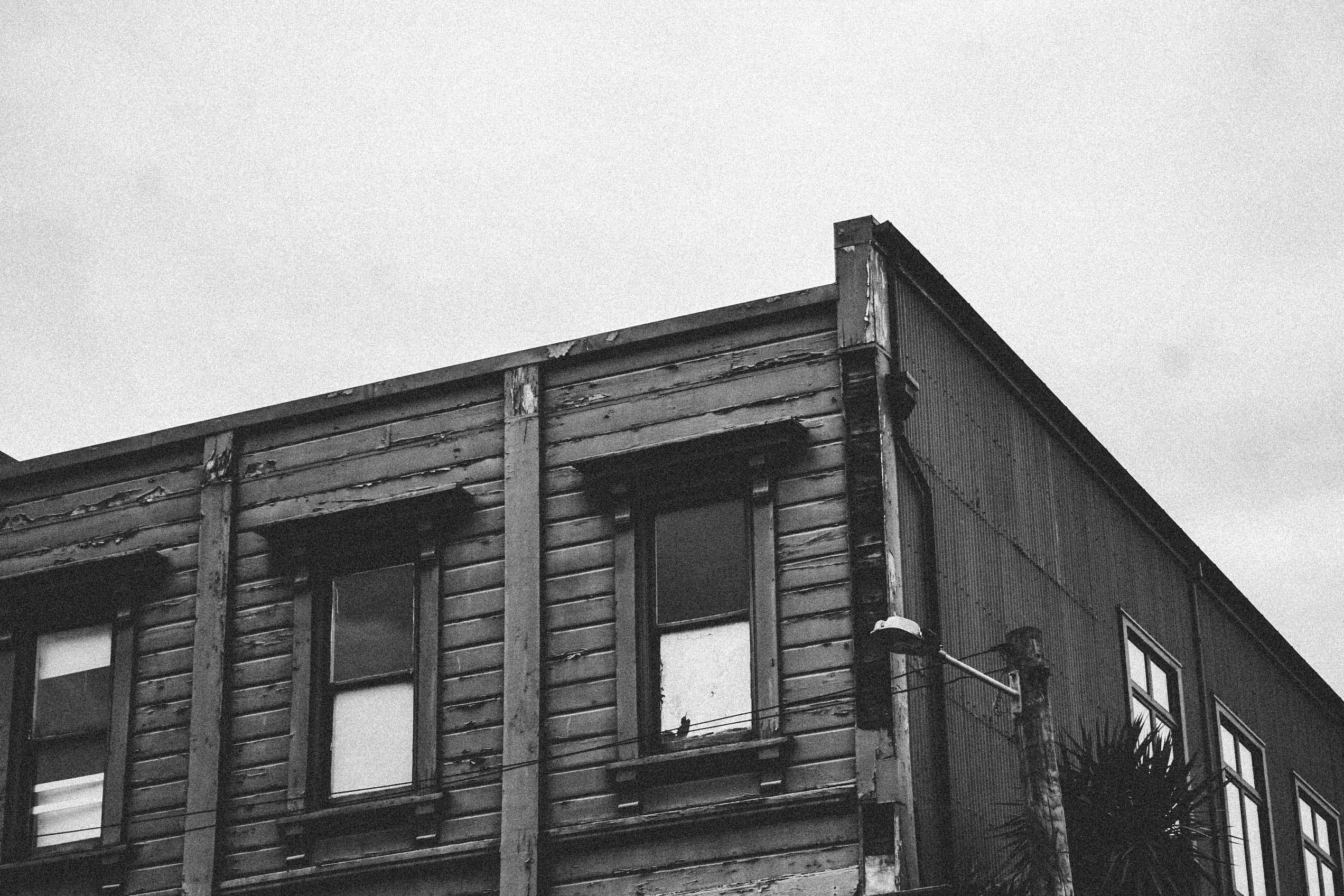 Grayscale Photo of Building
