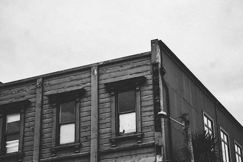 bina, camlar, mimari, siyah ve beyaz içeren Ücretsiz stok fotoğraf