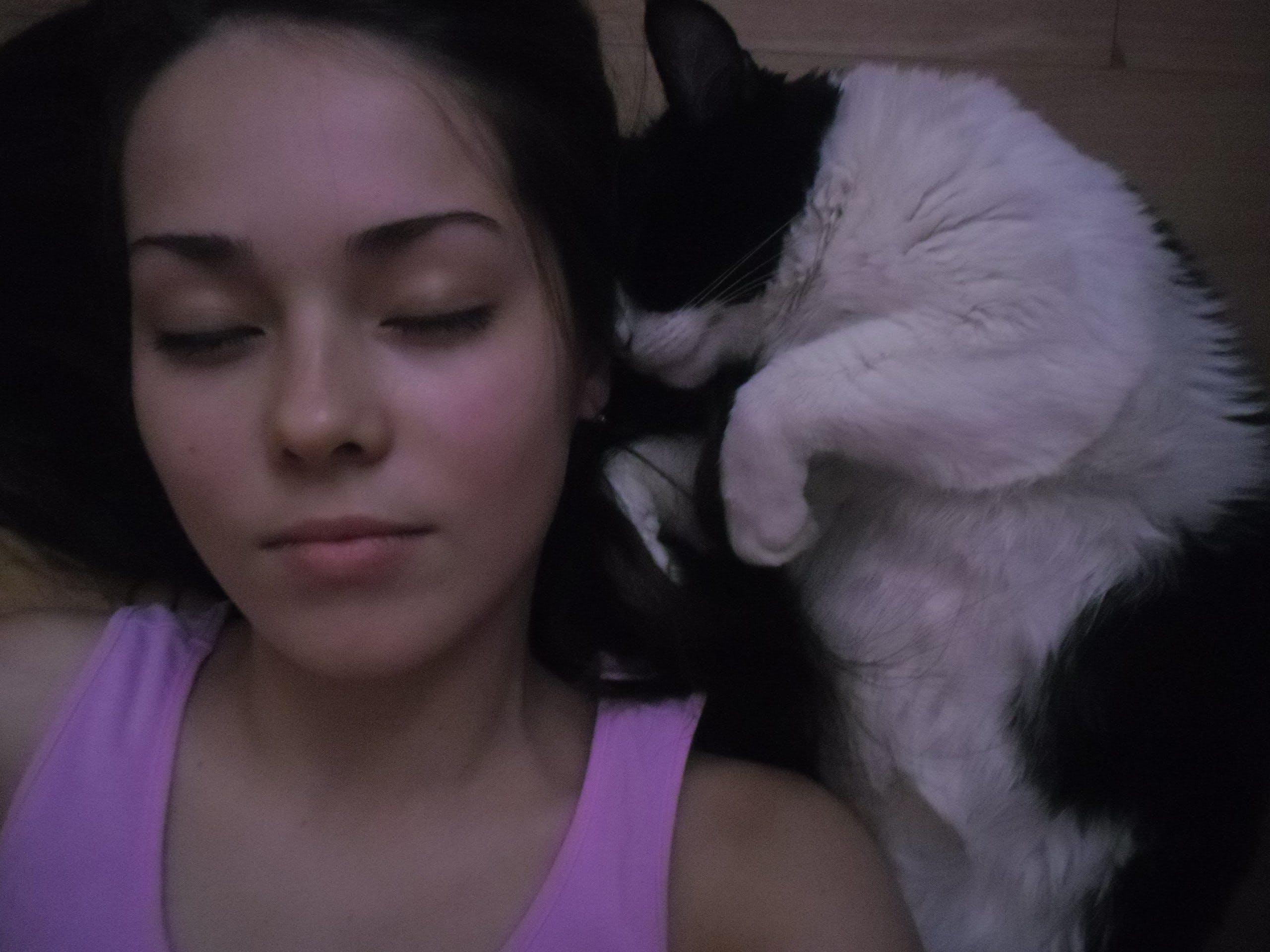 Free stock photo of #cute #female #cat #sleep #friends, #lady #eyes #woman, #peace #silence, #photoshoot