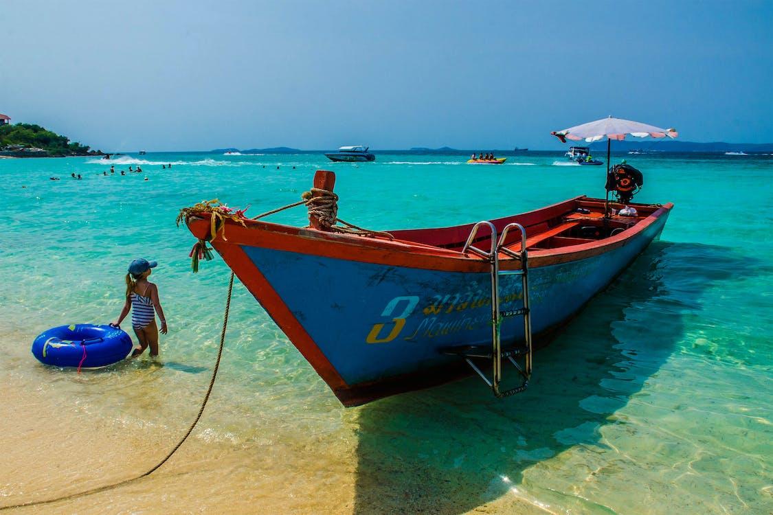 člun, dovolená, idylický