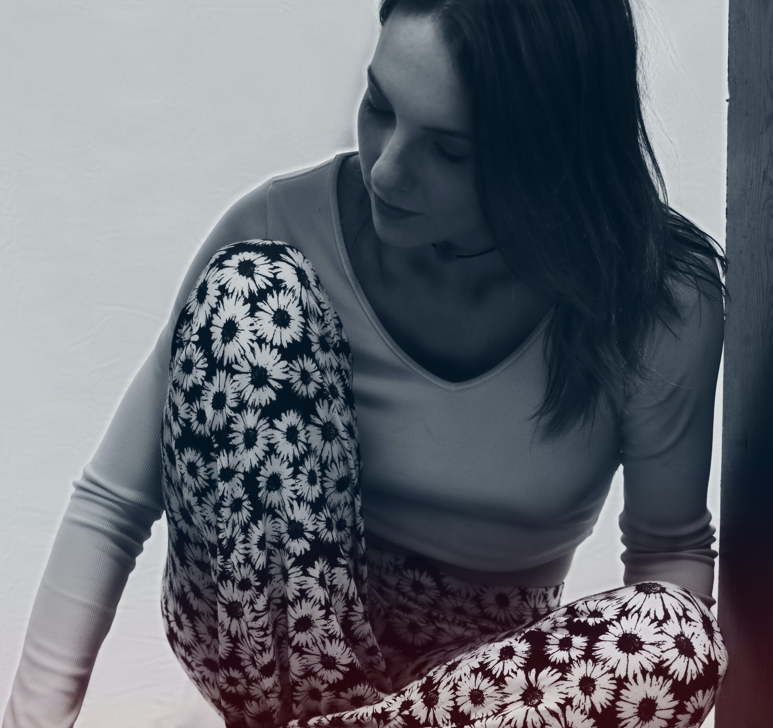 Grayscale Photo of Woman in Long Sleeve V Neck T Shirt