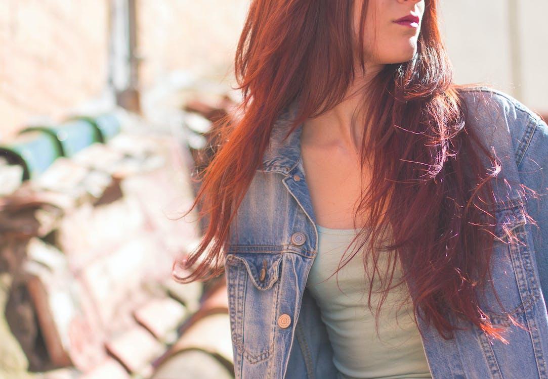 bunda, džínová bunda, holka