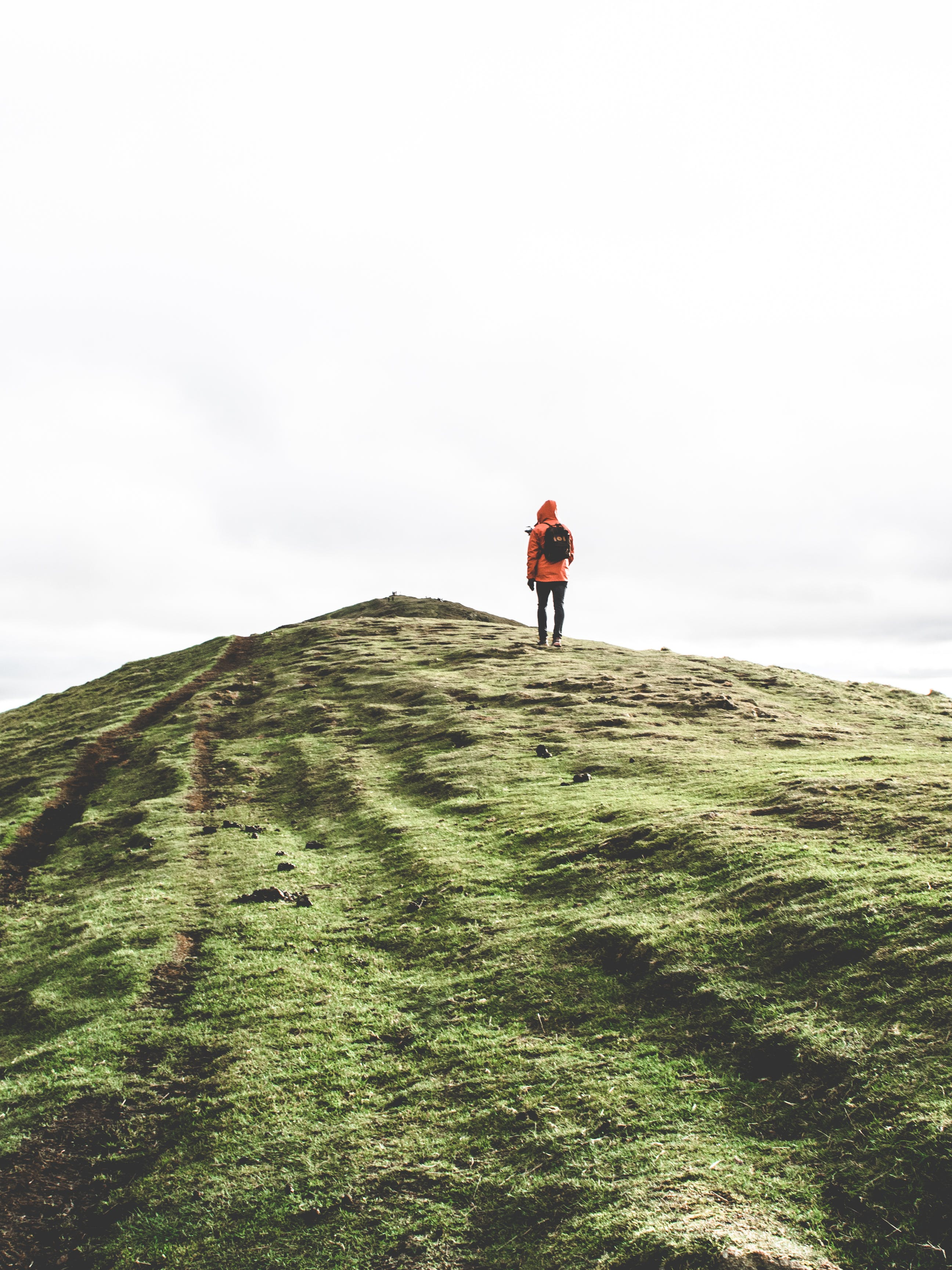 Person Wearing Orange Hoodie Standing on Green Mountain Under White Sky
