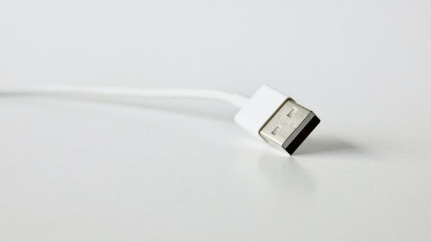 Close-Up Photo of White Usb Cable