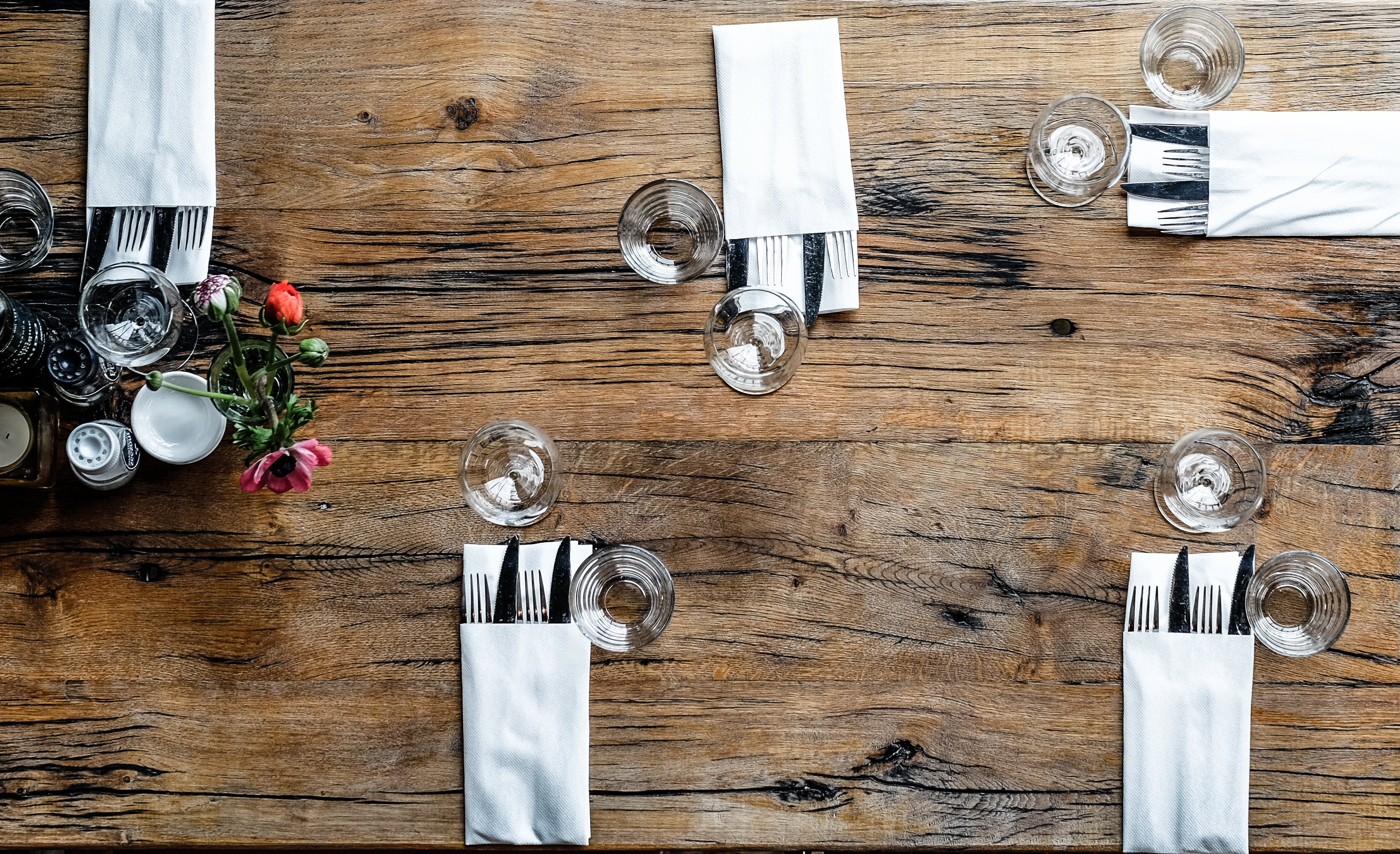 High-angle Photography of Utensils With Napkins