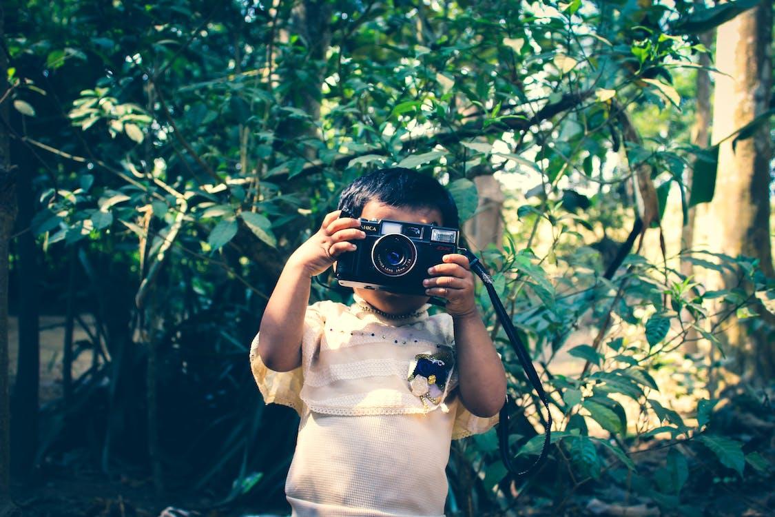 barn, gutt, kamera