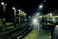 people, night, rails